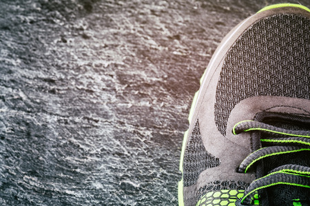 shoelace: Sneaker closeup. Sport concept with copyspace