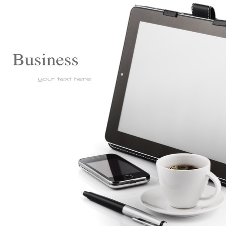 personal assistant: Mobile phone, tablet pc and cup of coffee Stock Photo
