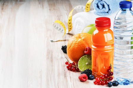 health drink: Fresh fruit juice and fitness accessories