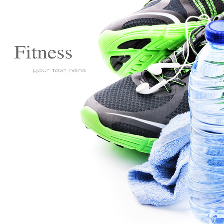 water shoes: Pair of sport shoes and water bottle