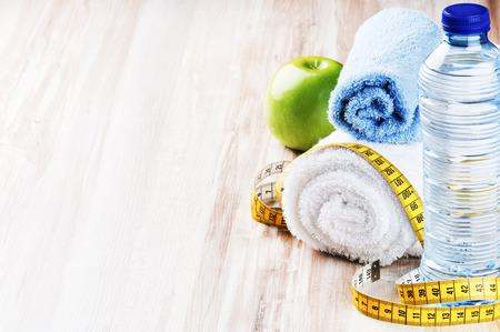 fitness: Conceito de fitness com plano de dieta saud Imagens