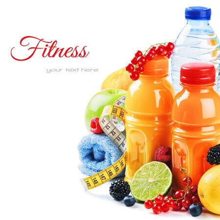 Healthy lifestyle concept. Fresh fruits and juices isolated over white photo