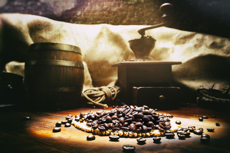 Roasted coffee beans in vintage setting photo