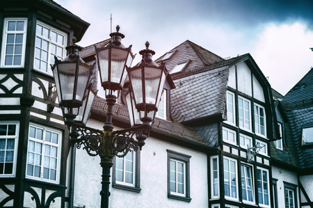 half timbered: Traditional German timber frame houses  Exterior view