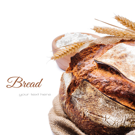 Freshly baked traditional bread isolated on white background photo