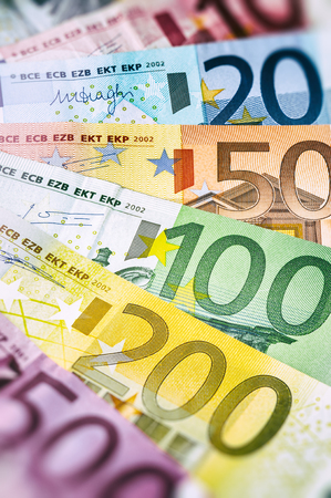 european exchange: Various Euro banknotes. Finance concept