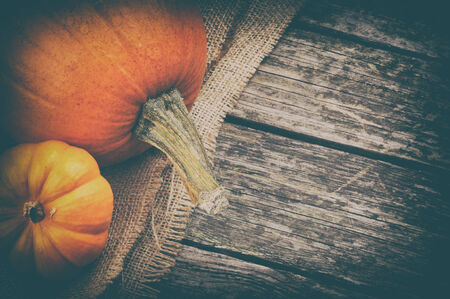 thanksgiving background: Autumn still-life with pumpkins on wooden background