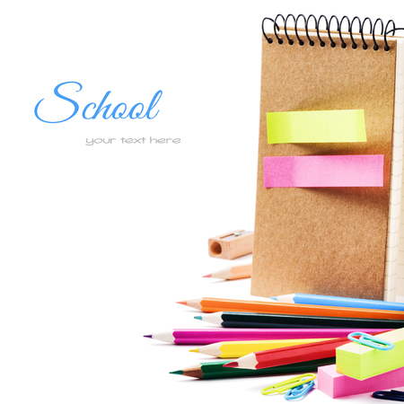 post secondary schools: School stationery isolated over white with copyspace