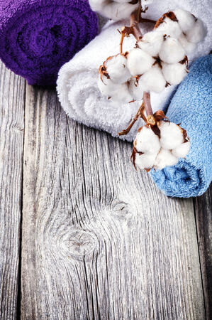 organic cotton: Branch of ripe cotton bolls on multicolor bath towels. Purity concept