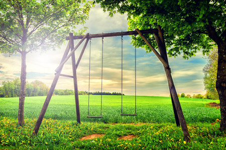 Lonely countryside swing at summer sunset photo