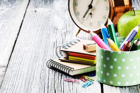 secondary schools: Colorful school supplies. Back to school concept Stock Photo