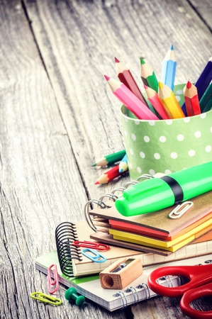 ก       tool: Colorful school supplies. Back to school concept Stock Photo