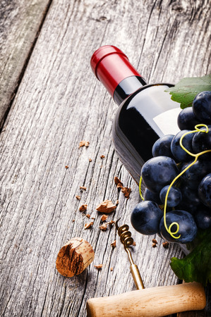Bottle of red wine with fresh grape and corkscrew photo
