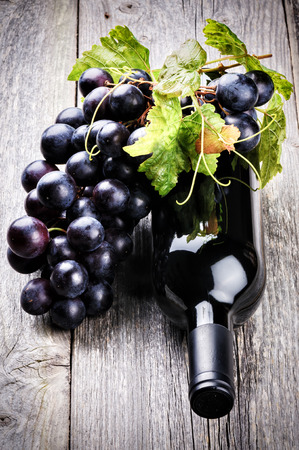 Bottle of red wine with fresh grape and grapevine photo