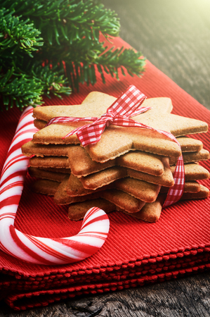 Christmas gingerbread cookies and candy cane on red napkin photo