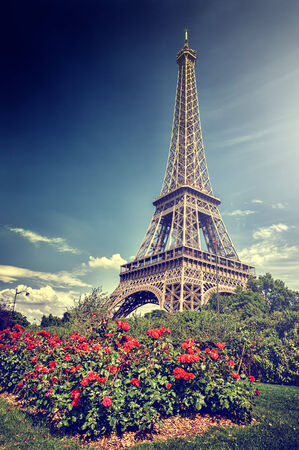 blue toned: Summer in Paris. Eiffel tower in retro style (toned image)