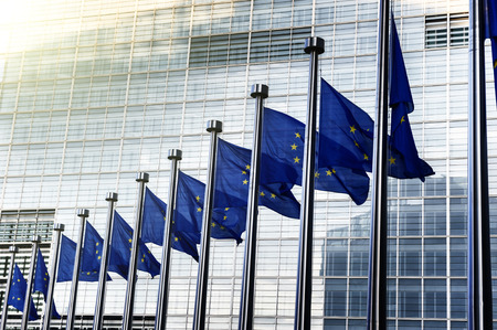 eu: EU flags in front of European Commission in Brussels, Belgium Stock Photo