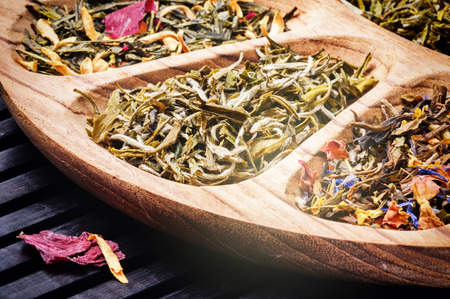 Selection of flower green tea. Closeup shot photo