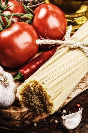Fresh ingredients for Italian pasta photo