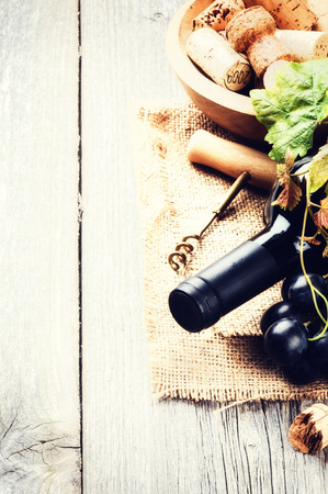 Bottle of red wine with fresh grape and bunch of corks Archivio Fotografico