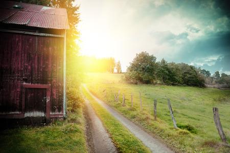 Zomer landschap met oude schuur en land weg bij zonsondergang