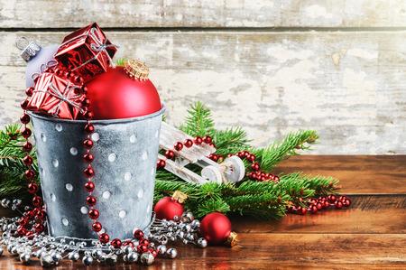 Vánoční ozdoby ve stylu vintage s copyspace Reklamní fotografie