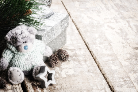 vintage teddy bears: Christmas decorations in vintage style with teddy bear Stock Photo