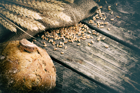 Fresh loaf of bread and wheat on wooden table photo