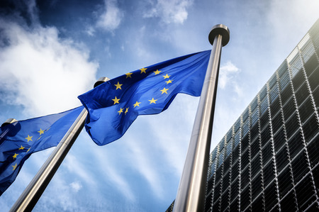 european economic community: European Union flags on blue sky background
