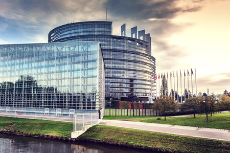 institution: European Parliament building at sunset. Strasbourg, France