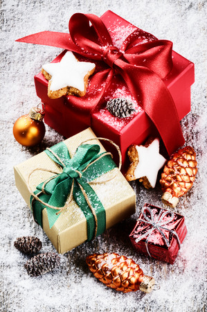 Christmas setting with colorful presents and ornaments photo