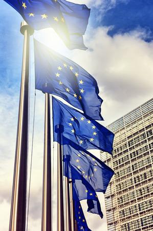 European Union flags on blue sky background