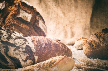 copyspace: Freshly baked bread in rustic setting with copyspace