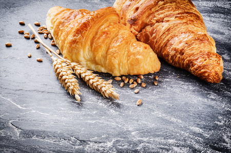 croissant: Breakfast setting with fresh croissants and copyspace