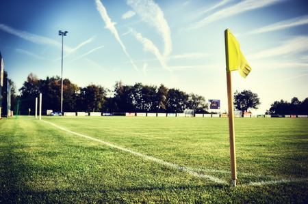 penalty flag: Soccer field at sunny summer day (football field)