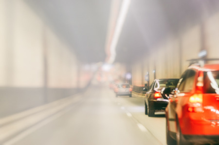 tunnel view: Blurred background with urban tunnel at rush hour