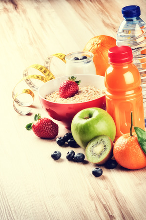 copyspace: Healthy lifestyle and fitness concept. Fresh fruits, juice and cereal with copyspace