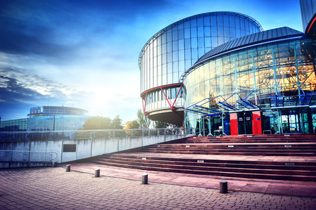 Straatsburg, Frankrijk - CIRCA oktober 2014: Europees Hof voor de Rechten van de Mens het bouwen