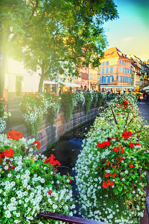 colmar: Cityscape of Colmar at sunny summer day. Alsace, France Stock Photo