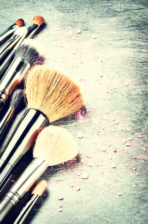 makeup: Collection of professional makeup brushes with copyspace Stock Photo