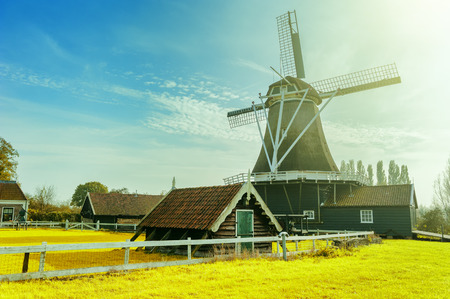 old farm: Summer landscape with traditional dutch windmill. Old farm concept