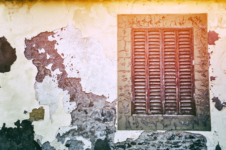cracky: Old window with cracky wooden shutters. Copy space Stock Photo