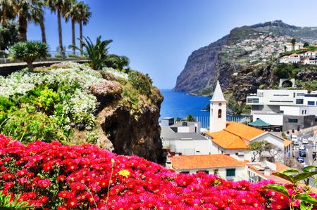 View of Camara de Lobos, small fisherman village on Madeira island Archivio Fotografico
