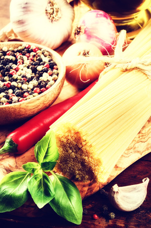 Fresh ingredients for Italian pasta. Healthy cooking concept photo