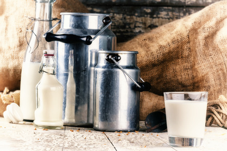 Farm setting with fresh milk in various bottles and cans Standard-Bild