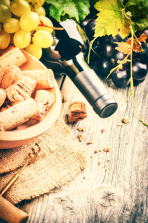 gastronomy: Bottle of red wine with fresh grape and bunch of corks Stock Photo