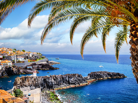 View of Camara de Lobos, small fisherman village on Madeira island Archivio Fotografico