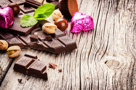 chocolate candy: Assortment of fine chocolates and pralines with fresh mint