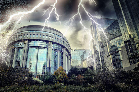 european economic community: European Parliament building at thunderstorm. Brussels, Belgium