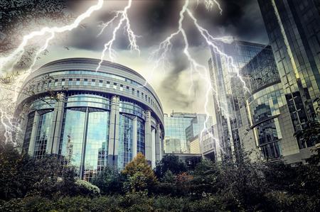 european economic community: European Parliament building at thunderstorm. Brussels, Belgium